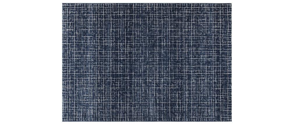 Alfombra azul con motivos gráficos 160 x 230 cm SAPHIR