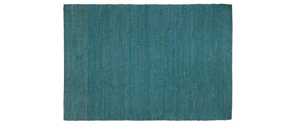 Alfombra azul petróleo yute 170x240cm GUNNY