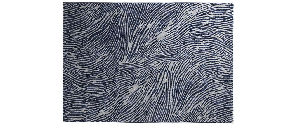 Alfombra azul y gris con motivos 160 x 230 cm SEA