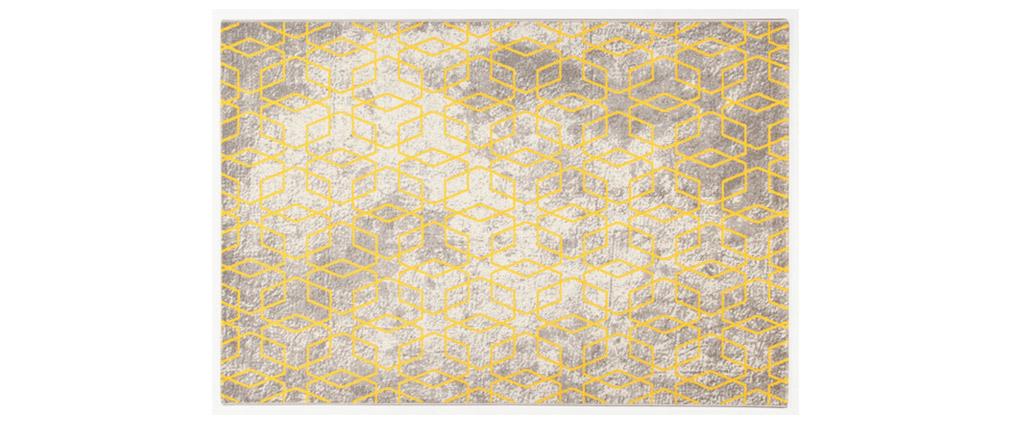 Alfombra color crudo con motivos amarillos 160 x 230 cm SOHO