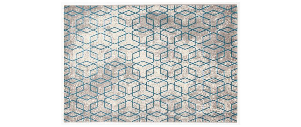 Alfombra color crudo con motivos azules 160 x 230 cm SOHO