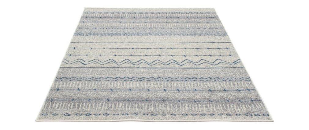 Alfombra con motivos  beige y azul 150 x 220 cm TRIBAL