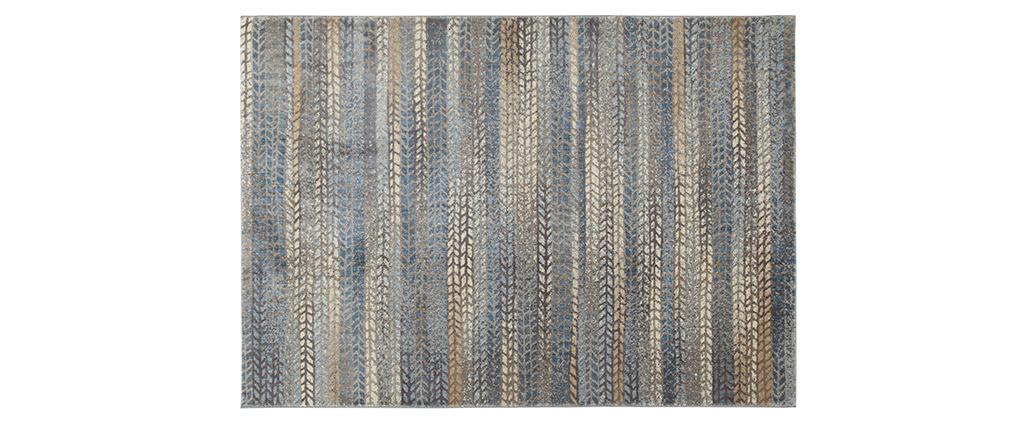 Alfombra con motivos gráficos azul, marrón y gris 160 x 230 cm EPIS