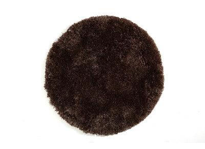 Alfombra de pelo redonda color chocolate 100 cm UGO