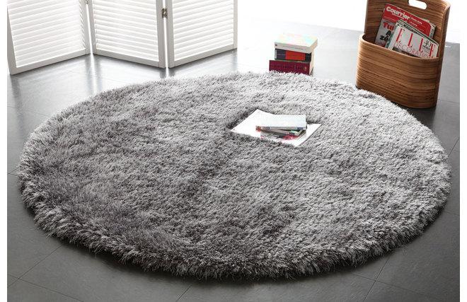 Alfombra de pelo redonda gris 150 cm ugo miliboo for Alfombra redonda gris