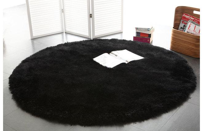 Alfombra De Pelo Redonda Negra 150 Cm Ugo Miliboo