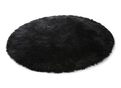 Alfombra de pelo redonda negra 150 cm UGO