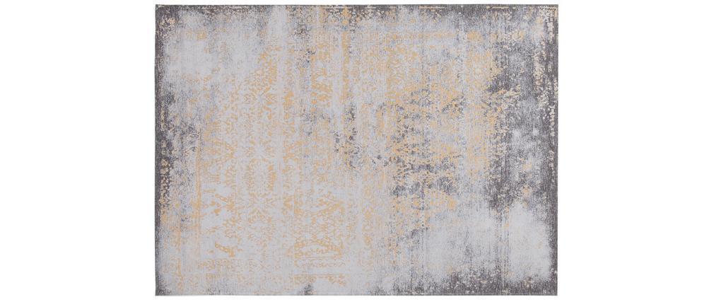 Alfombra efecto usado amarillo oro y marrón con motivo tejido 160 x 230cm - ASTRA