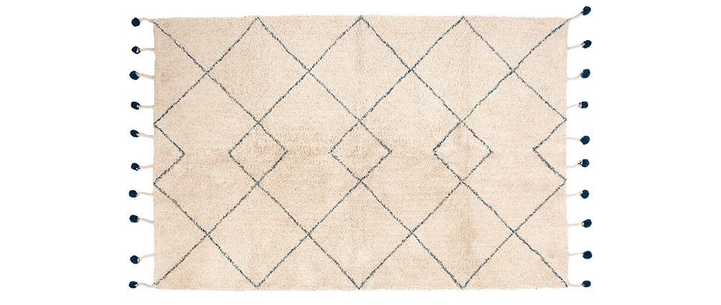 Alfombra en algodón natural y pompones 110x170 cm TANVI