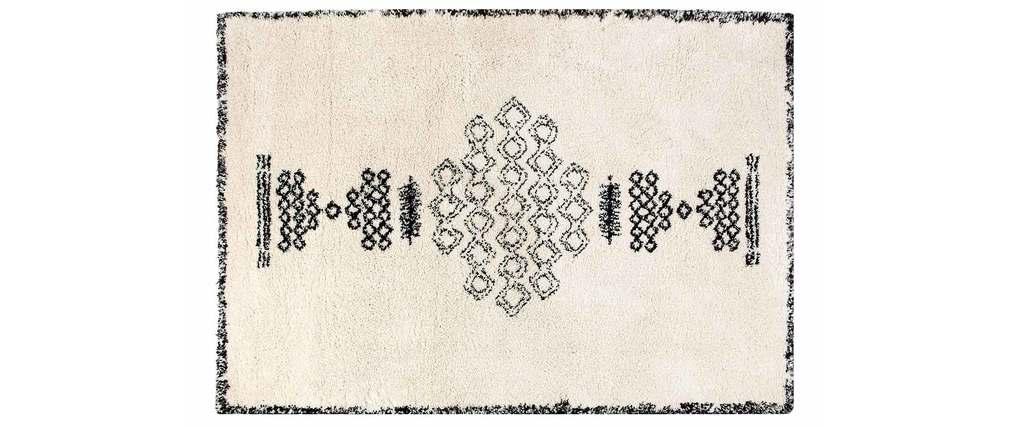 Alfombra estilo bereber negra y blanca 160x230 cm OYO