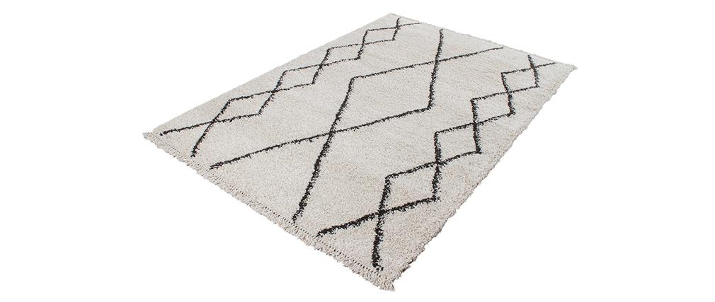 Alfombra estilo bereber negro y blanco 160 x 230 cm TRIBU