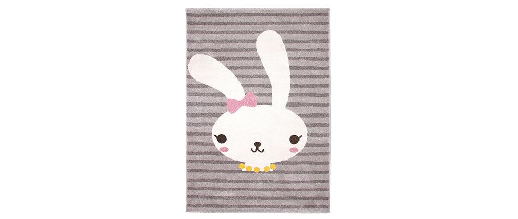 Alfombra gris infantil con dibujo de conejo 120x170 cm BONNIE