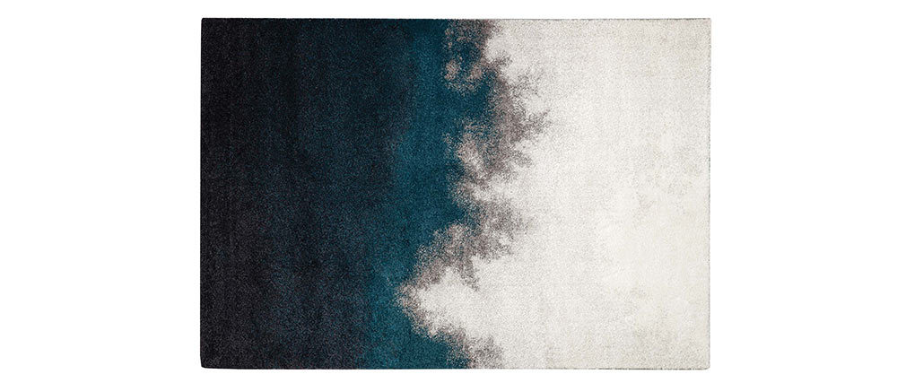 Alfombra gris y azul en polipropileno 160x230 cm TEKOA