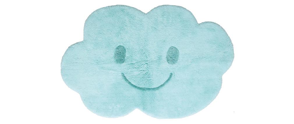 Alfombra infantil en algodón azul 75x115 cm NIMBUS