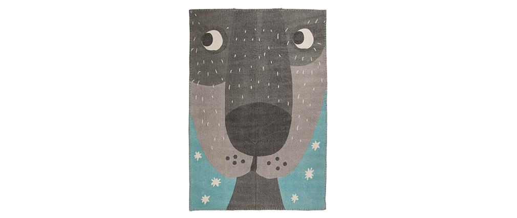 Alfombra infantil en algodón con dibujo de animal 100x140 cm ANNIBAL