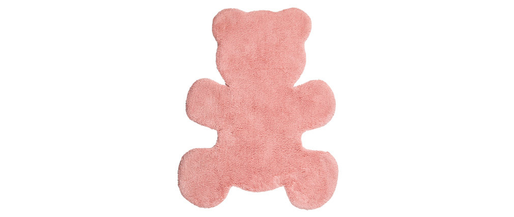 Alfombra infantil en algodón rosa 80x100 cm TEDDY