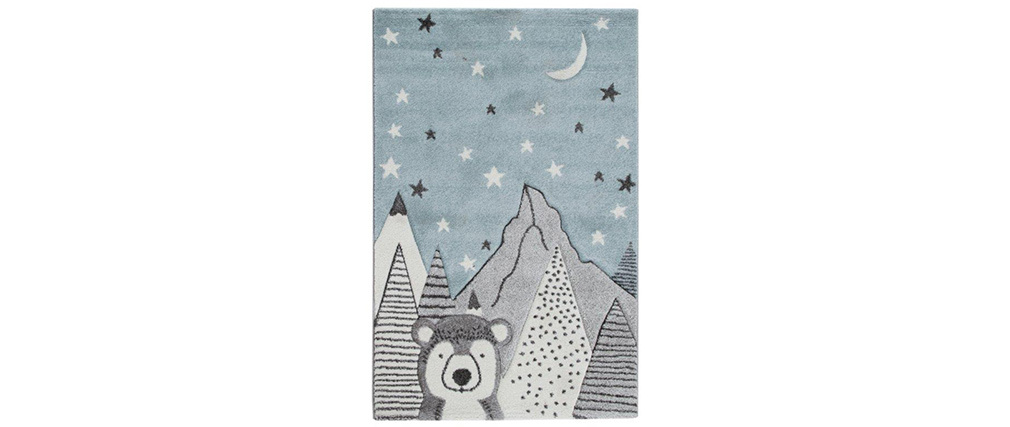 Alfombra infantil motivo oso gris y azul 100 x 150 cm TITI