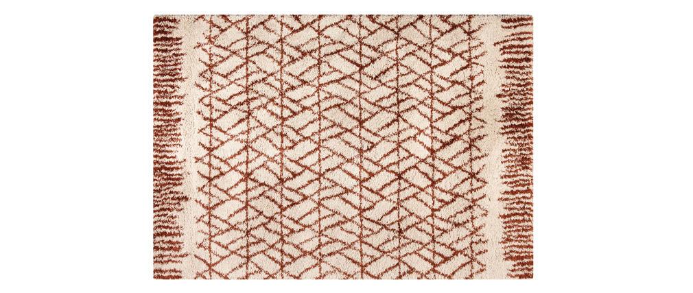 Alfombra moderna beige y rojo teja 200 x 290 cm PALMERAIE