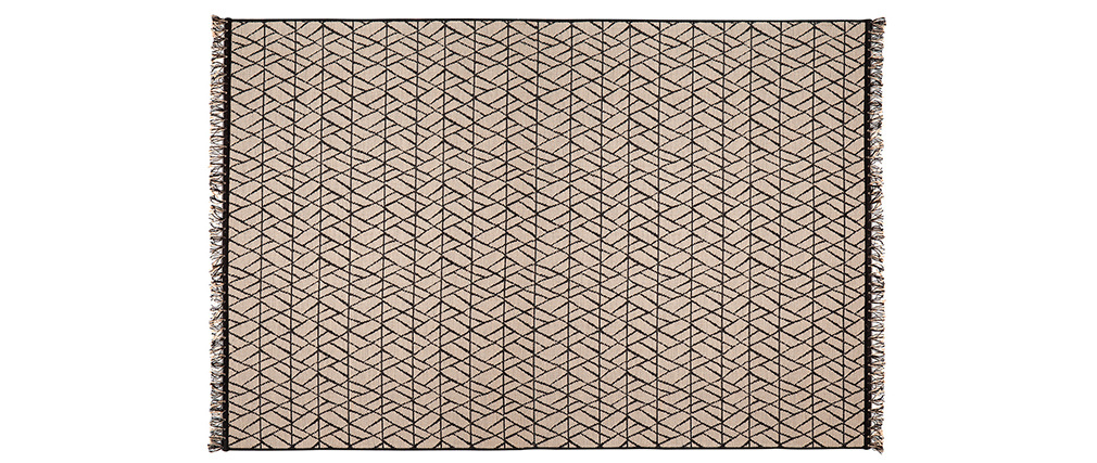 Alfombra moderna natural con motivo gráfico negro 160 x 230 cm ETNICA