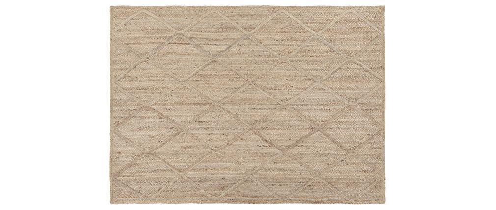 Alfombra natural en yute con motivos rombos 160 x 230 cm RAFI
