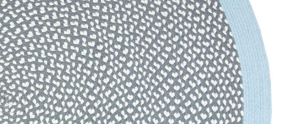Alfombra redonda en algodón azul y gris 120 cm BRENDA