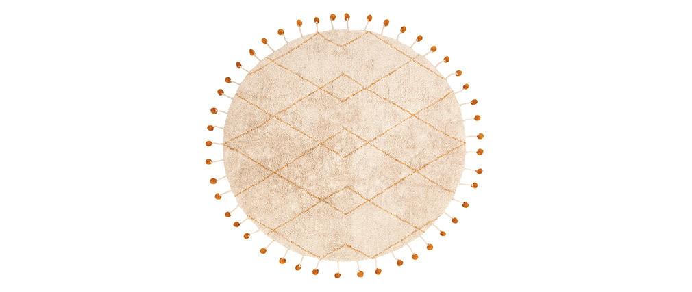 Alfombra redonda en algodón natural y pompones 135 cm TANVI