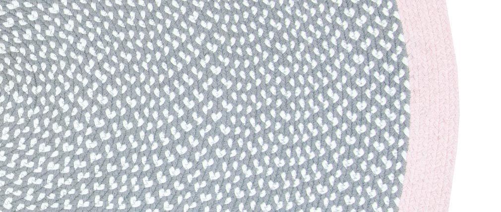 Alfombra redonda en algodón rosa y gris 120 cm BRENDA
