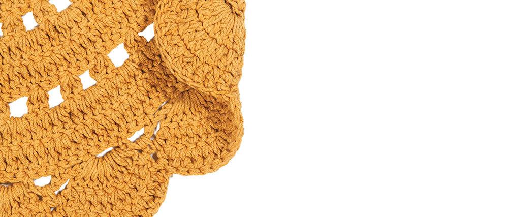 Alfombra redonda en ganchillo amarillo anaranjado 120 cm ALMA