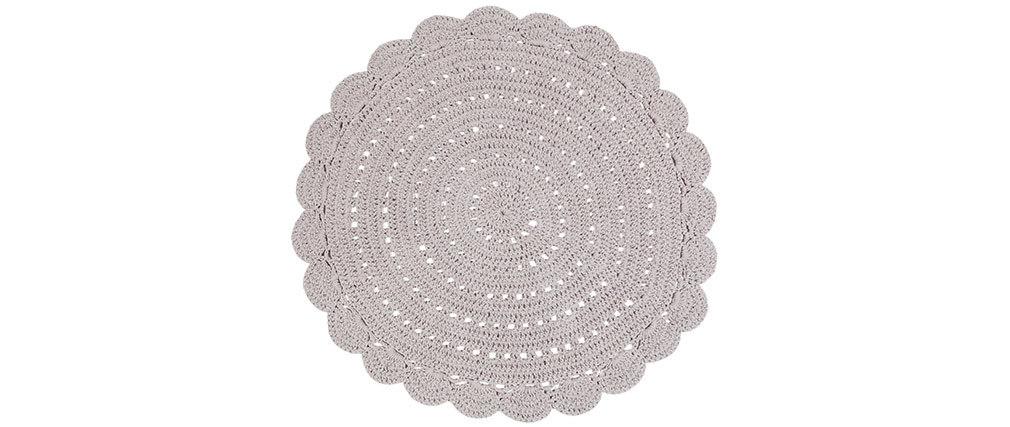 Alfombra redonda en ganchillo gris claro 120 cm ALMA