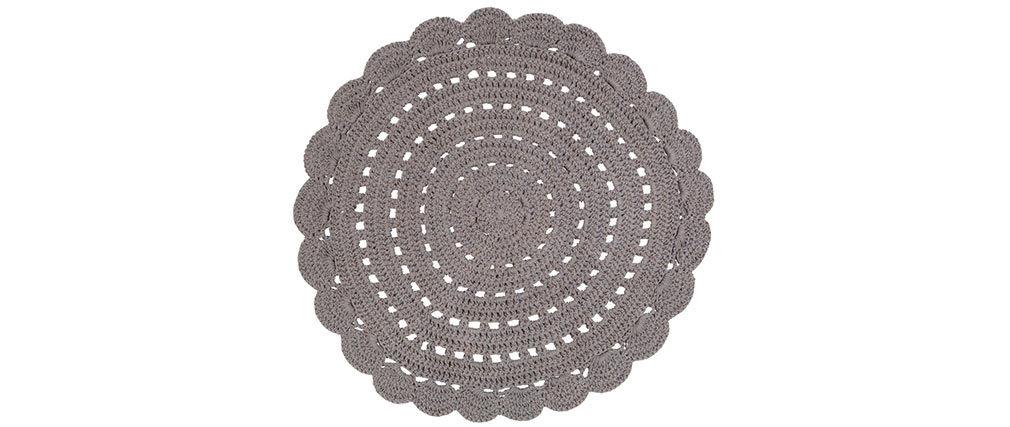 Alfombra redonda en ganchillo gris oscura 120 cm ALMA