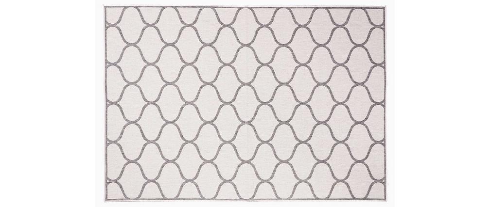 Alfombra reversible interior/exterior blanco crema y gris 160 x 230 cm SPIN