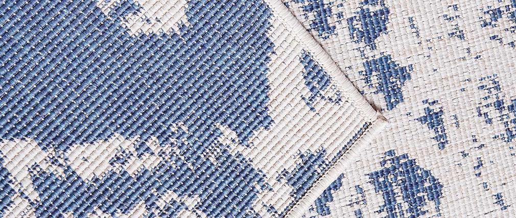 Alfombra reversible interior exterior con motivos azules 160 x 230 cm BELIZ