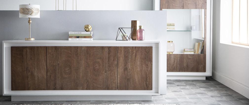 Aparador 4 puertas moderno blanco y decoración cemento LAND