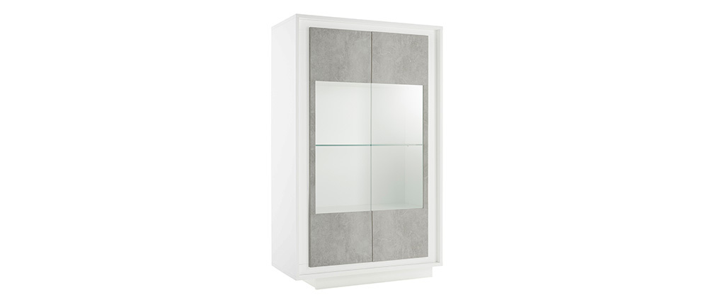 Aparador acristalado moderno blanco y decoración de cemento LAND