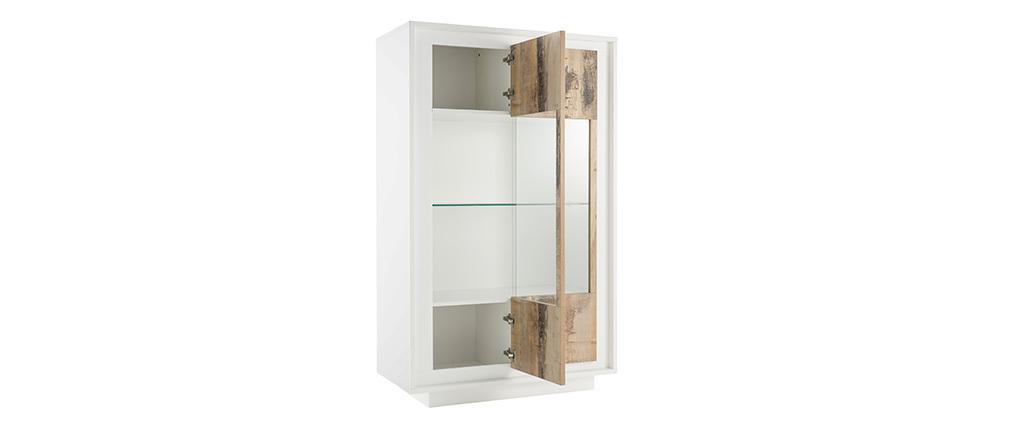 Aparador acristalado moderno blanco y decoración de madera clara LAND
