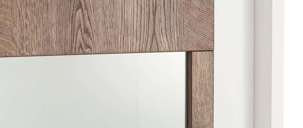 Aparador acristalado moderno blanco y decoración de madera oscura LAND