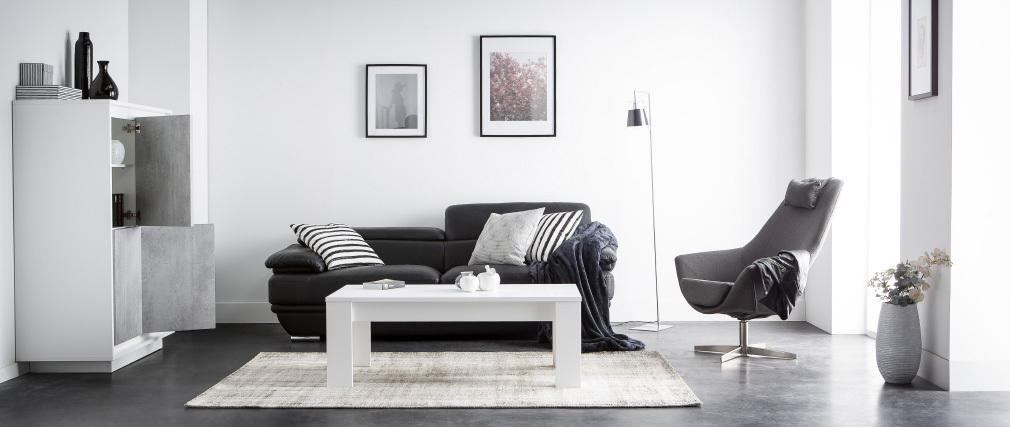 Aparador alto moderno 4 puertas blanco y decoración cemento LAND