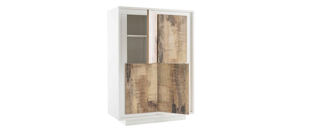 Aparador alto moderno 4 puertas blanco y decoración madera clara LAND