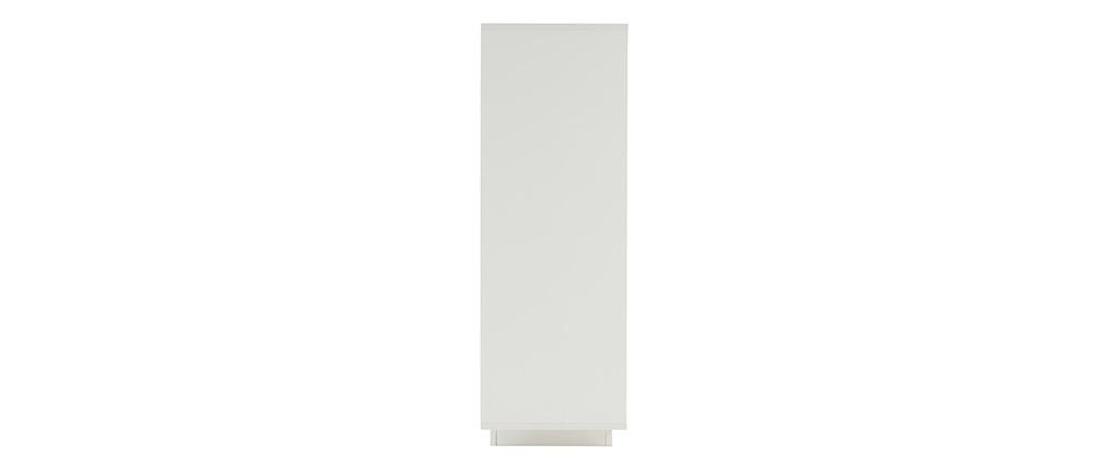 Aparador alto moderno 4 puertas blanco y decoración madera oscura LAND