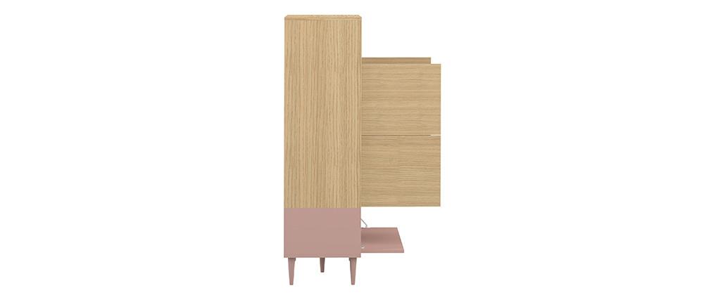 Aparador alto nórdico rosa y madera STRIPE