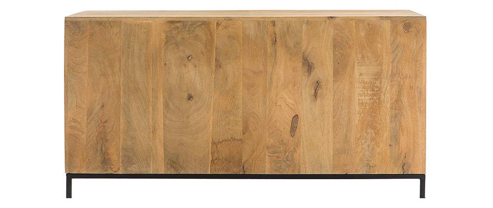 Aparador bajo industrial en madera de mango y metal perforado RACK
