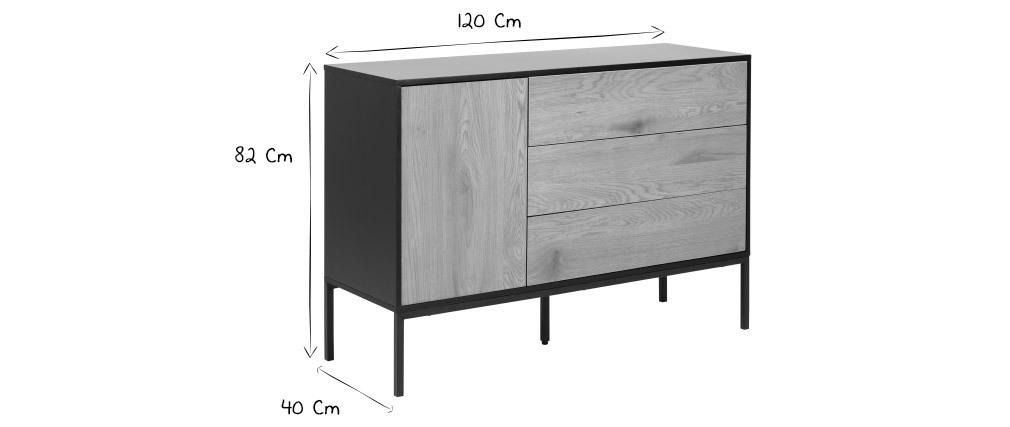Aparador bajo industrial metal y madera TRESCA