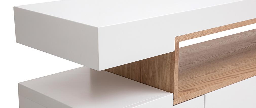 Aparador blanco mate y nicho en madera LIVO