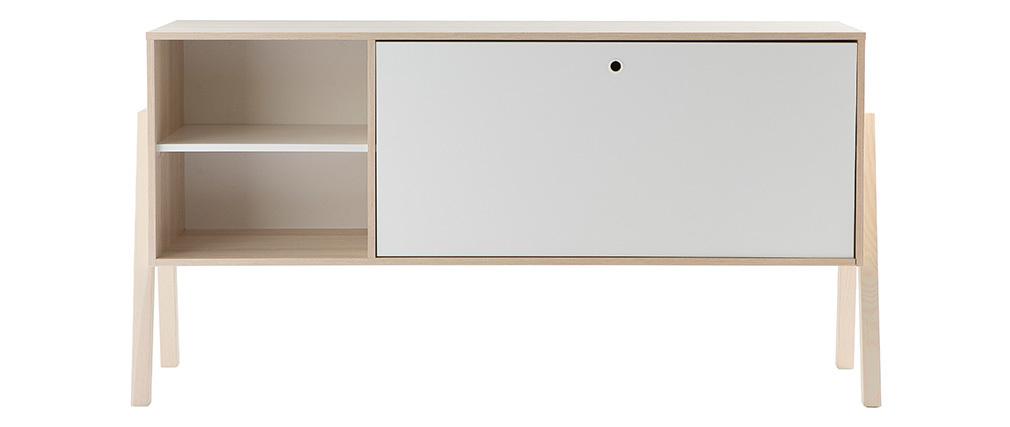 Aparador diseño 1 puerta 2 cajones blanco y madera EASY