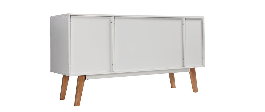 Aparador diseño lacado blanco mate y madera ADORNA