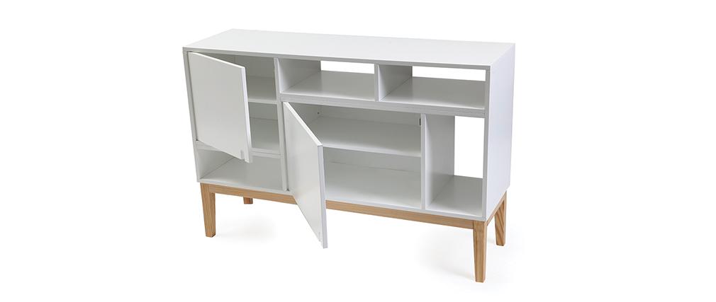 Aparador diseño lacado blanco mate y madera SKAL