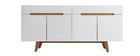 Aparador escandinavo blanco brillante y fresno 180cm MELKA