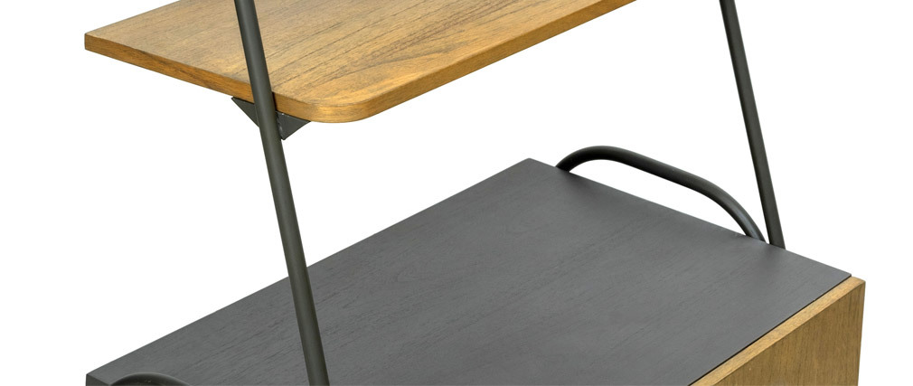 Aparador industrial con estanterías madera y metal gris MODI