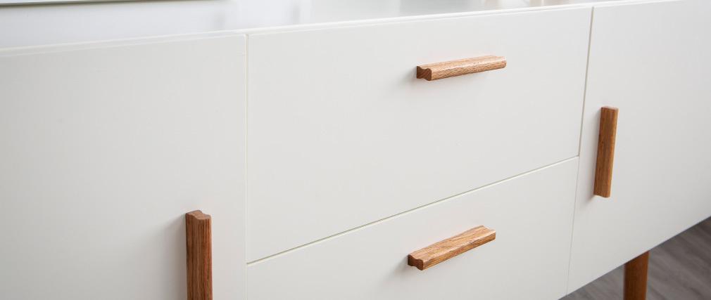 Aparador madera natural y blanca 2 puertas 2 cajones GILDA