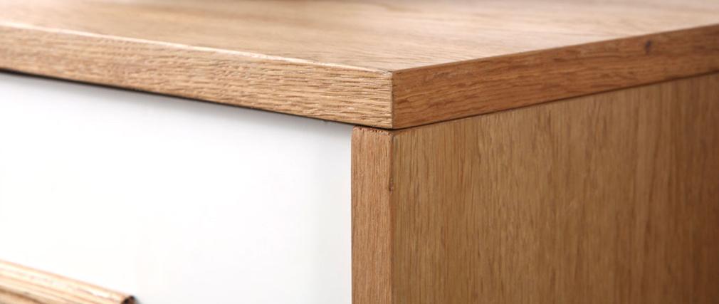 Aparador madera natural y blanca 2 puertas 2 cajones HELIA